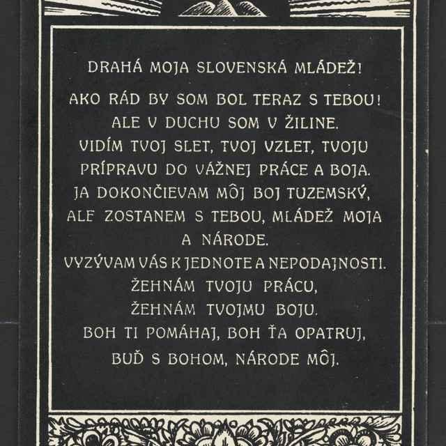 Pohľadnica: Andrej Hlinka odkaz mládeži,1906 - Muzeálny objekt