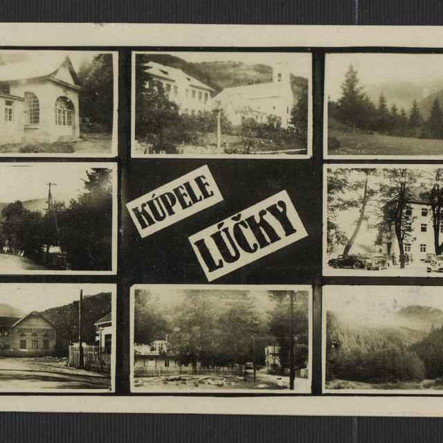 Fotopohľadnica: Kúpele Lúčky, prešlá poštou 1948