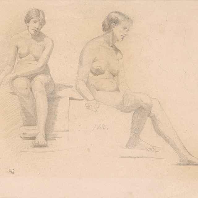 Dve štúdie sediaceho ženského aktu - Katona, Ferdinand