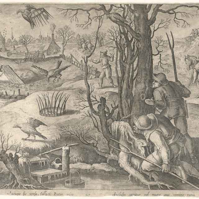 Lov na kane s pascami v zime - Straet, Jan van der