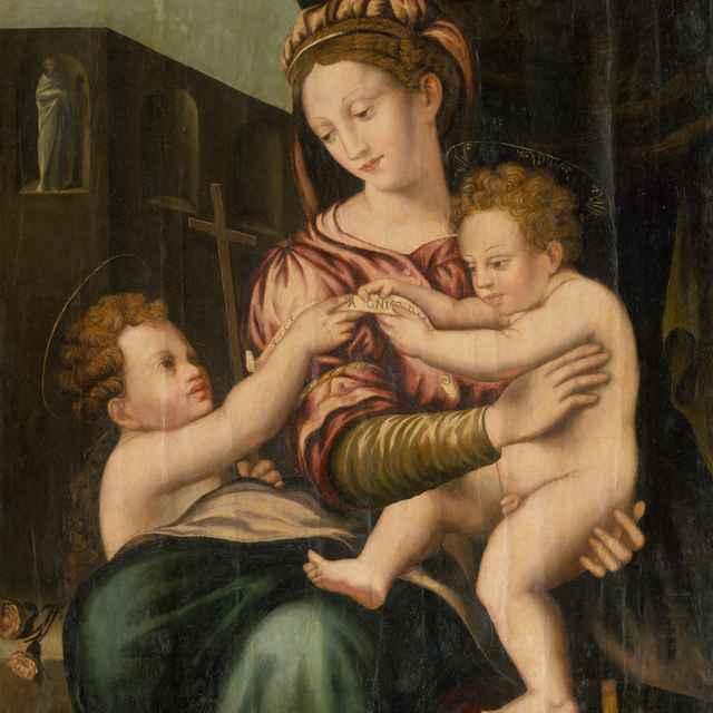 Madona s Ježiškom a svätým Jánom Krstiteľom - Taliansky maliar z 1. polovice 16. storočia - okruh Rafaela Santiho