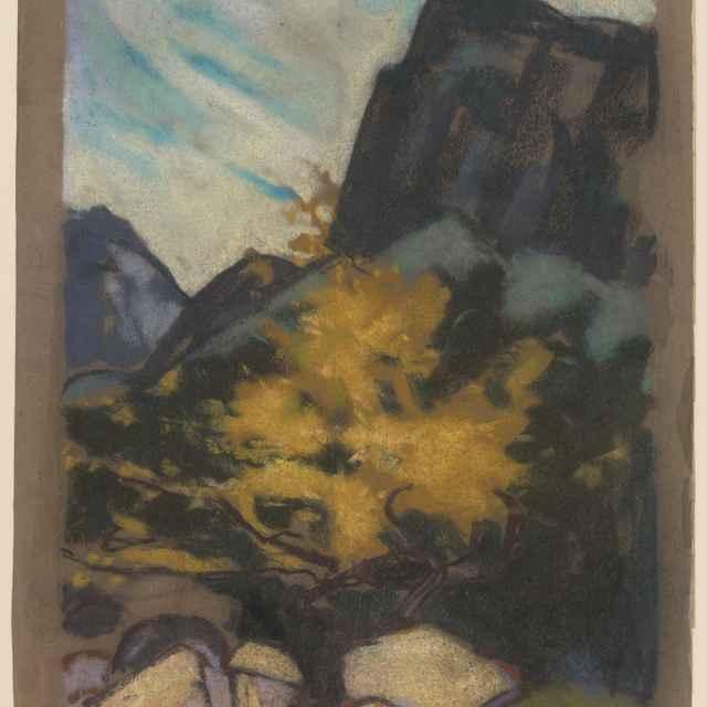 Skalnatá krajina so žltým stromom - Palugyay, Zolo