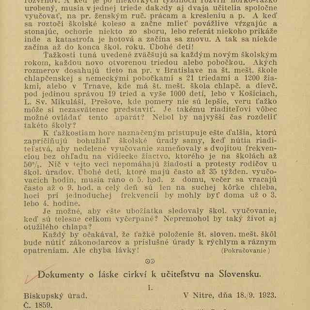 Dokumenty o láske cirkví k učiteľstvu na Slovensku - ,