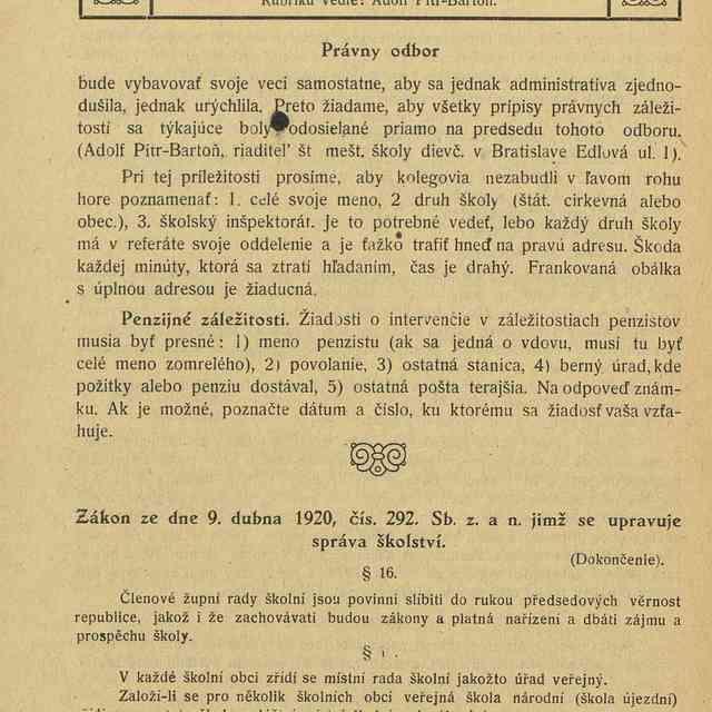 Právny odbor - Adolf, Pítr-Bartoň