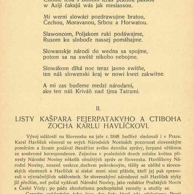 LISTY KAŠPARA FEJERPATAKYHO A CTIBOHA ZOCHA KARLU HAVLÍČKOVI. - Odložilík, Otakar