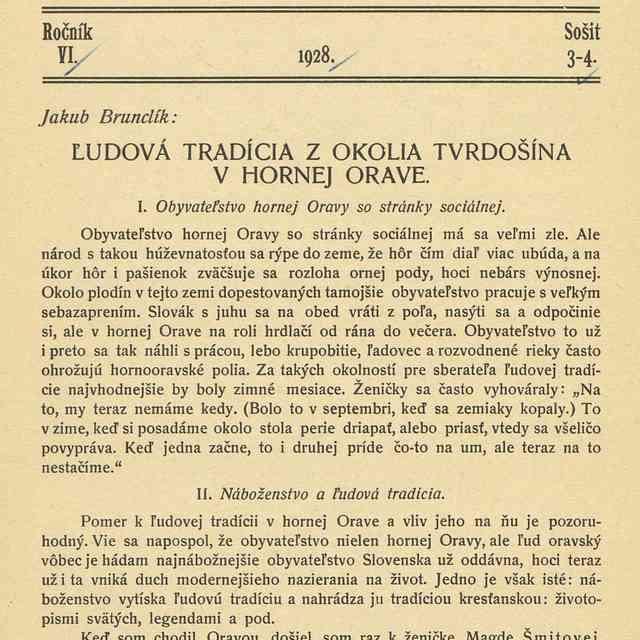 ĽUDOVÁ TRADÍCIA Z OKOLIA TVRDOŠÍNA V HORNEJ ORAVE. - Brunclík, Jakub