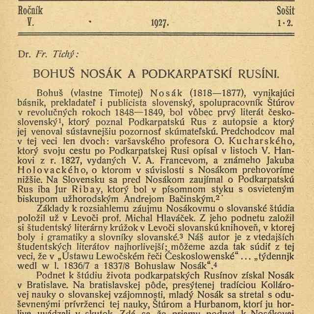 BOHUŠ NOSÁK A PODKARPATSKÍ RUSÍNI. - Fr., Tichý