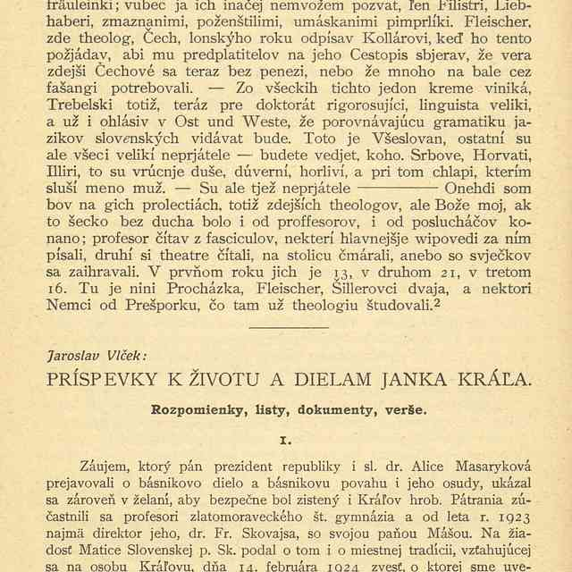 Príspevky k životu a dielam Janka Kráľa - Vlček, Jaroslav