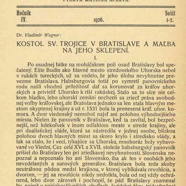 KOSTOL SV. TROJICE V BRATISLAVE A MAĽBA NA JEHO SKLEPENÍ. - Wagner, Vladimír