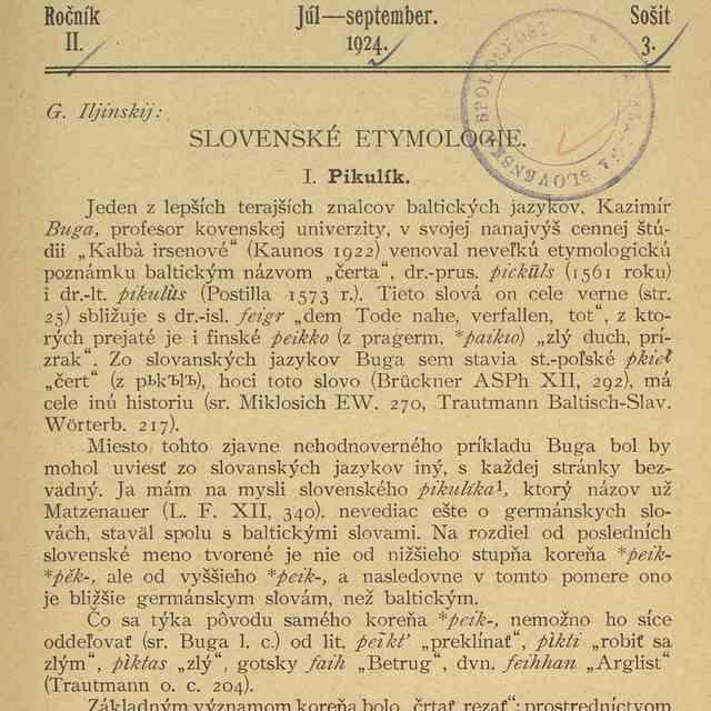 SLOVENSKÉ ETYMOLOGIE. - Iljinskij, G.