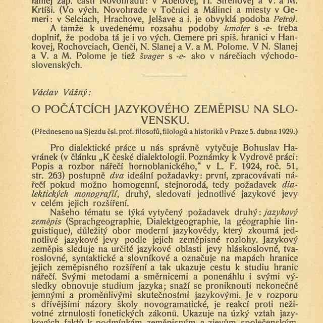 O POČÁTCÍCH JAZYKOVÉHO ZEMEPISU NA SLOVENSKU. - Vážný, Václav