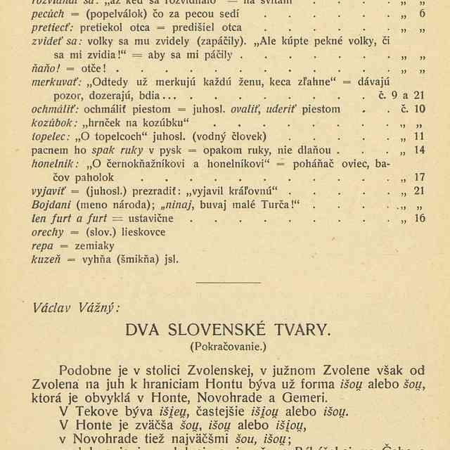 DVA SLOVENSKÉ TVARY. - Vážný, Václav