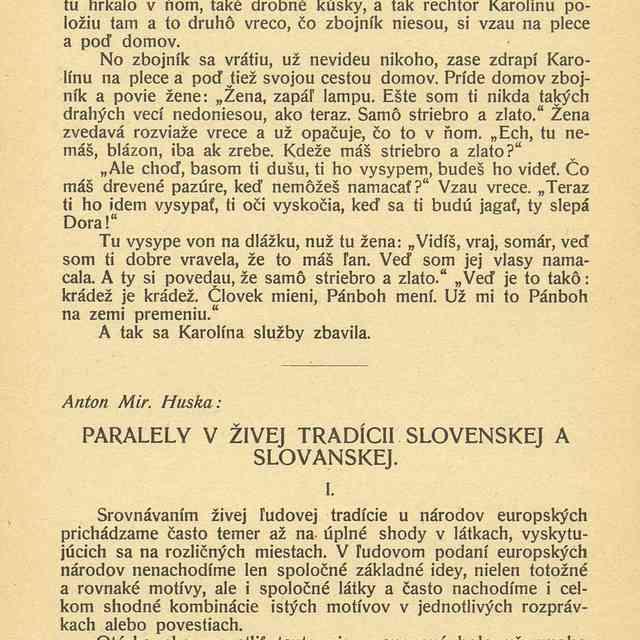 PARALELY V ŽIVEJ TRADÍCII SLOVENSKEJ A SLOVANSKEJ. - ,