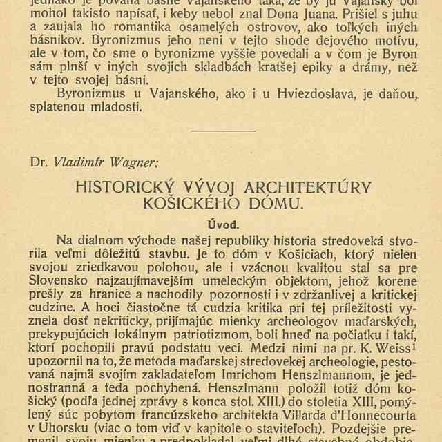 HISTORICKÝ VÝVOJ ARCHITEKTÚRY KOŠICKÉHO DÓMU. - Wagner, Vladimír