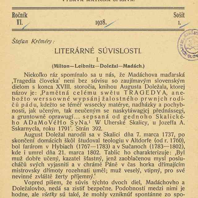 LITERÁRNÉ SÚVISLOSTI. I.