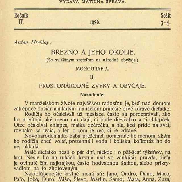 BREZNO A JEHO OKOLIE. : - Hreblay, Anton