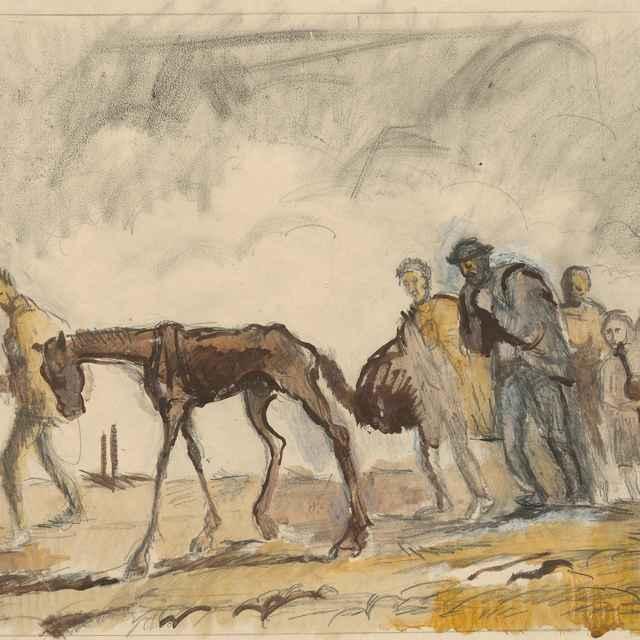 Štúdia k litografii Utečenci