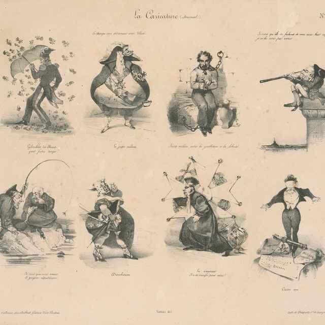 Osem dobových karikatúr - Karikatúra bude odteraz pravdou - Francúzsky grafik z 30. rokov 19. storočia-Vattier