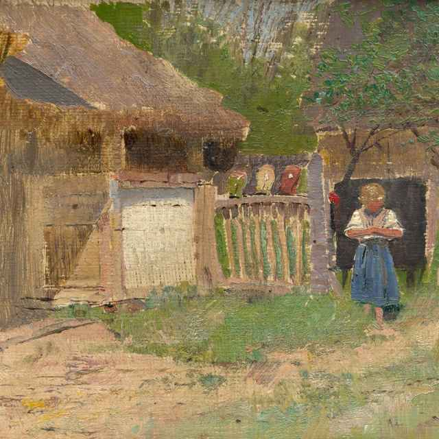 Dievčatko na dedinskom dvore - Mednyánszky, Ladislav