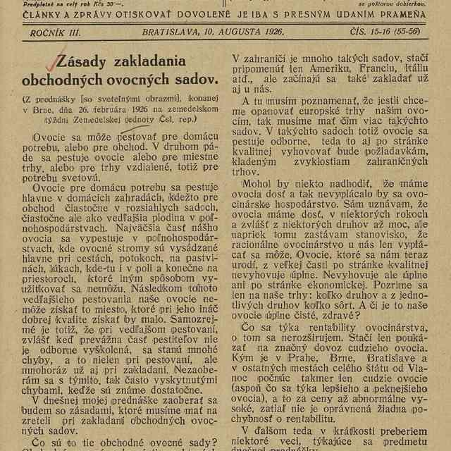 Zásady zakladania obchodných ovocných sadov - Buchta, Viktor
