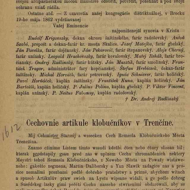 Cechovnie artikule klobučníkov v Trenčíne