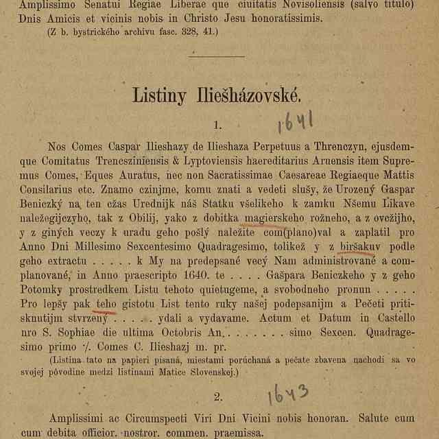 Listiny Iliešházovské