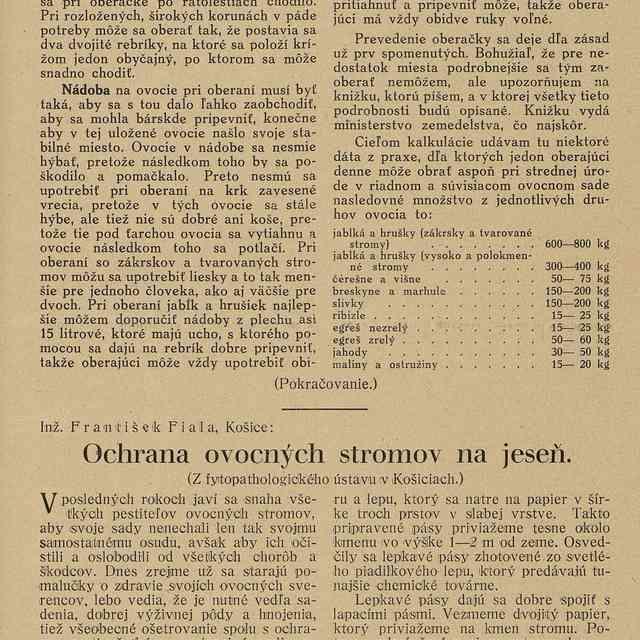 Ochrana ovocných stromov na jeseň - Fiala, František - Text