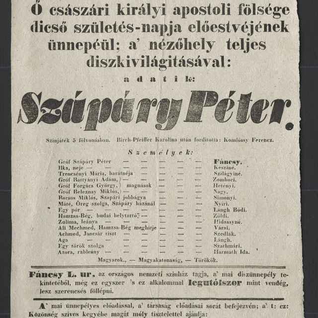 plagát; Szápary Péter, Košice, 17. 8. 1852