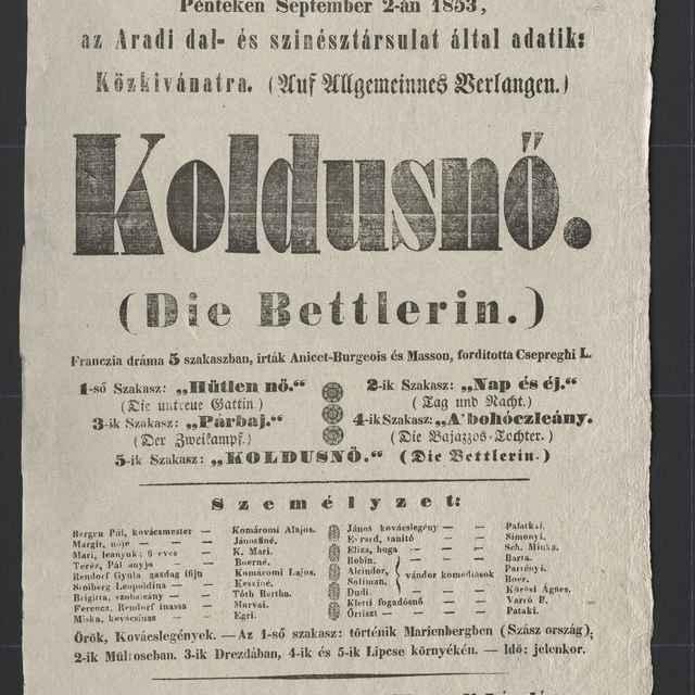 plagát; Koldusnő / Die Bettlerin, Košice, 2. 9. 1853