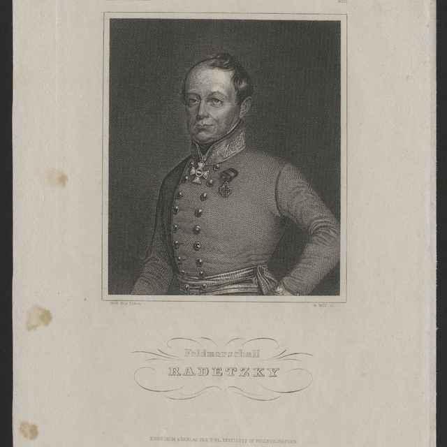 Obraz - maršál Radetzky, tlač na papieri, G. Wolf, Eigenthum&Verlag des Bibl. Instituts in Hildburghausen, 24,2x16cm