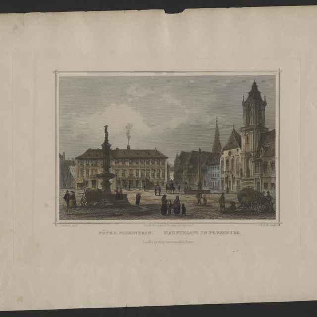 Obraz - Hlavné námestie v Bratislave, farebná tlač na papieri, L. Rohbock - J.M. Kolb, Darmstadt, 23x31cm - Muzeálny objekt