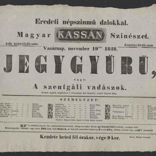 plagát; Jegygyürü, Košice, 19. 11. 1848