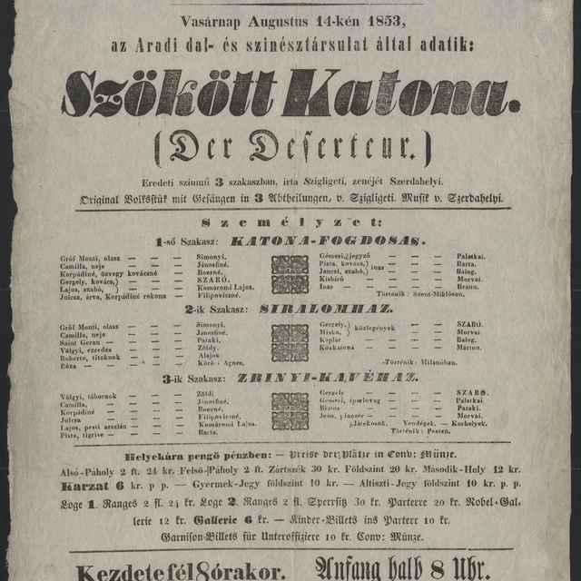 plagát; Szökött Katona / Der Deserteur, Košíce, 14. 8. 1853