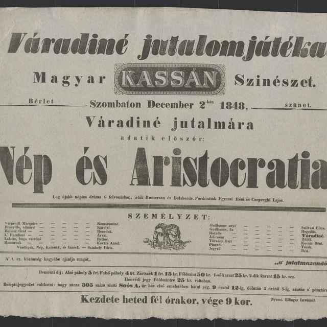plagát; Nép és Aristocratia, Košice, 2. 12. 1848