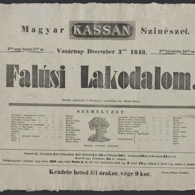 plagát; Falúsi Lakodalom, Košice, 3. 12. 1848
