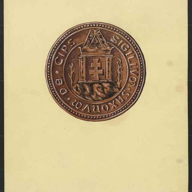 Pečať Spoločenstva spišských Sasov z roku 1294. Tempera na papieri.