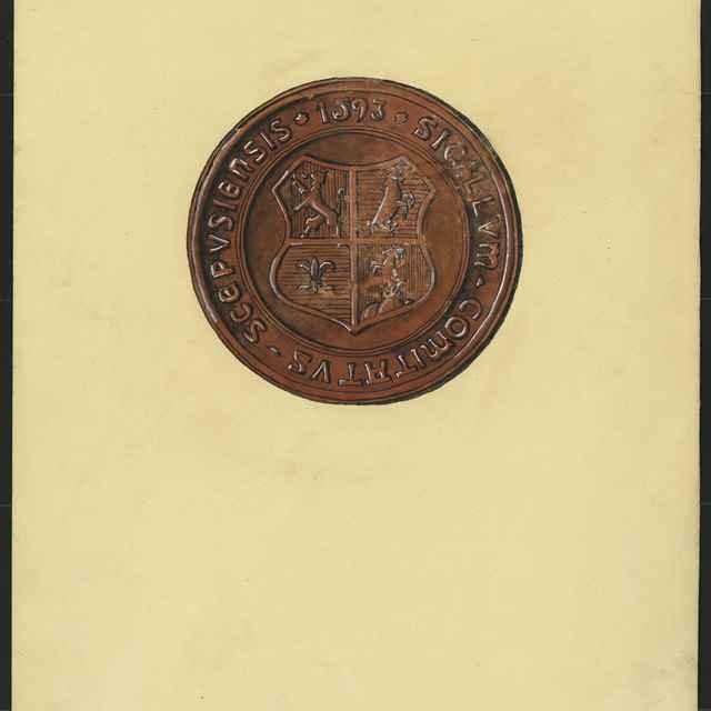 Pečať Spišskej župy z roku 1593. Tempera na papieri