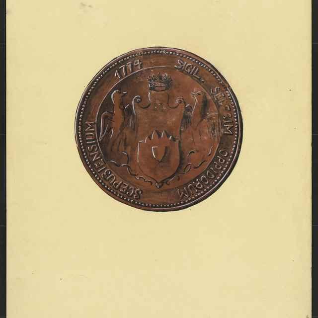 Pečať Provincie XVI. spišských miest z roku 1774. Tempera na papieri