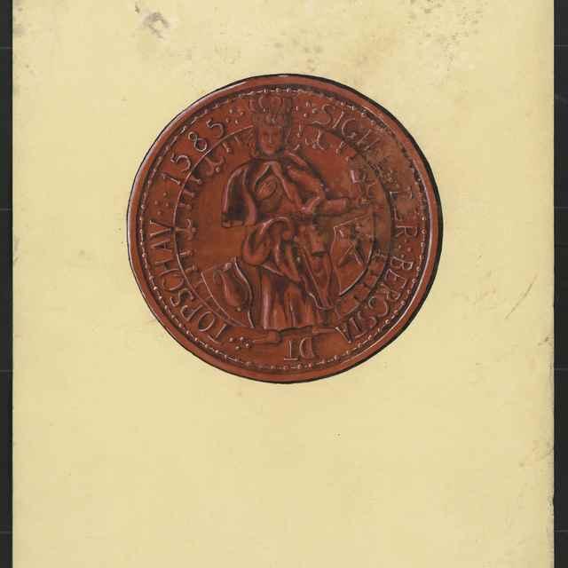 Pečať Dobšinej z r. 1585. Tempera na papieri