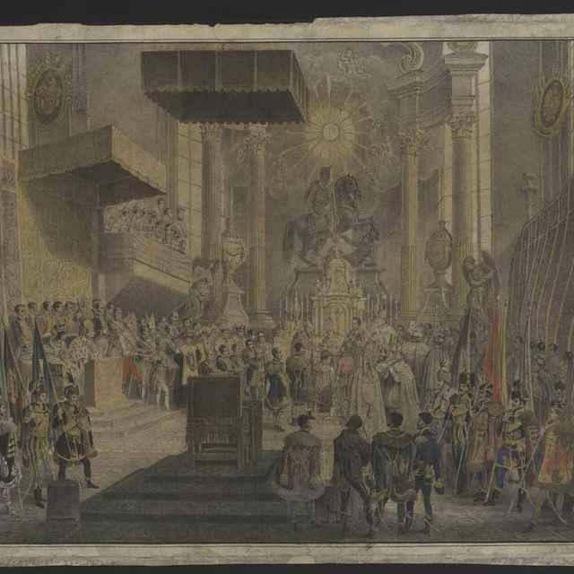 Grafika - Korunovácia Ferdinanda V. Dóme, kolorovaná litografia, v drevenom ráme, 30,5x45; s rámom 33,4x 49 cm