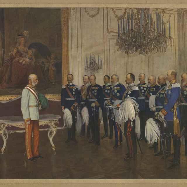 Obraz - farebná tlač, František Jozef prijíma nemeckého cisára Wilhelma, vojenskými hodnostármi, paspartovaná, 62,8x45,6cm - Muzeálny objekt