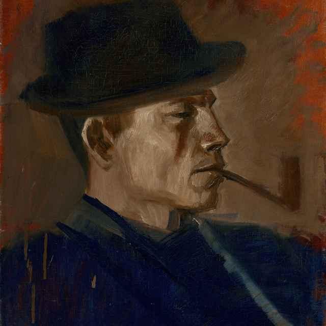 Fajčiaci muž v modrom - Mednyánszky, Ladislav
