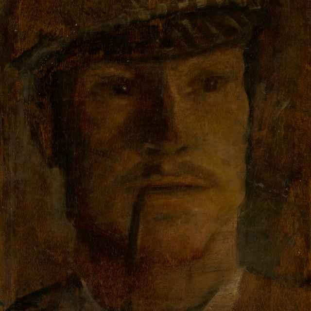 Fajčiaci muž v čiapke. Štúdia hlavy muža v čiapke s fajkou - Mednyánszky, Ladislav