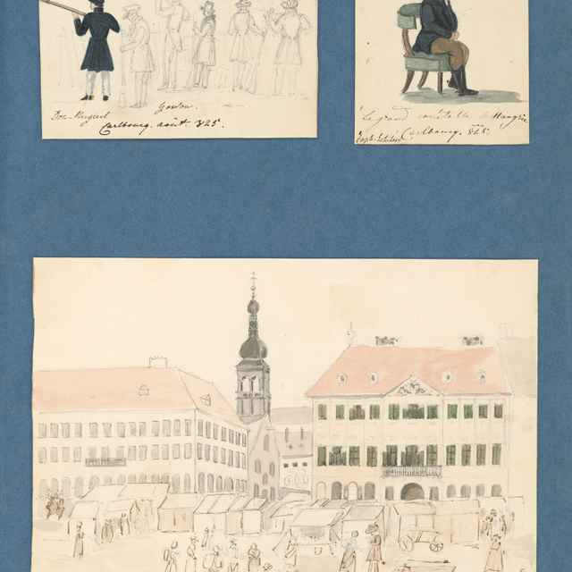 Poľovnícky výjav. Gróf Jozef Esterházy. Palác Szapáryovcov. Pohľad na dnešné Námestie SNP v Bratislave