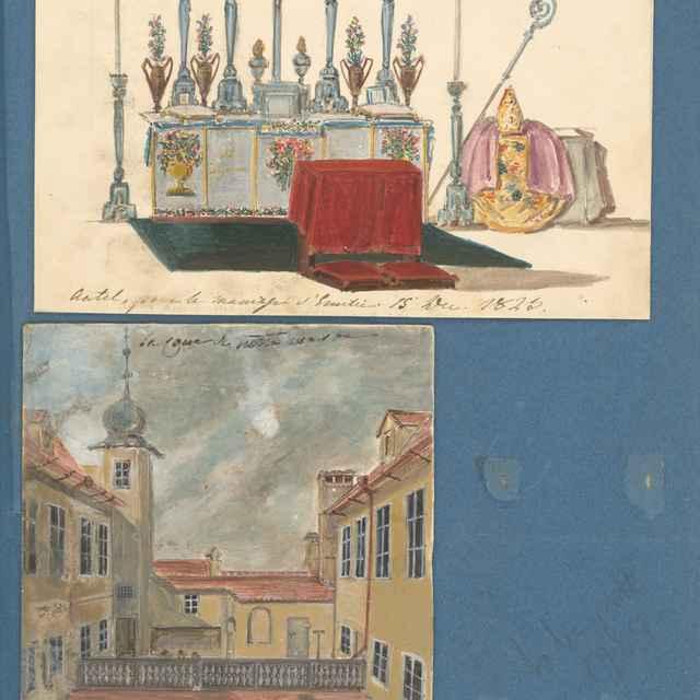 Vyzdobený oltár pri príležitosti svadby Emílie a Pavla Széchenyi. - Stredoeurópsky maliar z 19. storočia