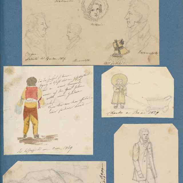 Profilové kresby (Baden). Členovia rodiny Zichy počas pobytu v Hornom Bare - Stredoeurópsky maliar z 19. storočia