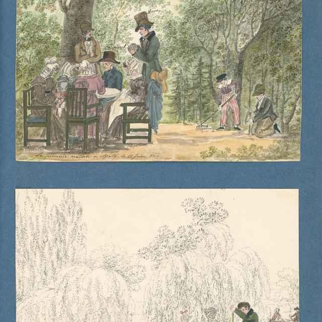 Rodina v záhrade kaštieľa v Apaty. Člnkovanie na jazere