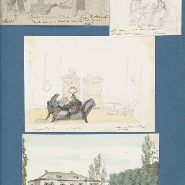 Sídlo rodiny Odescalchi v Meidnlingu. Scény zo života rodiny. - Stredoeurópsky maliar z 19. storočia