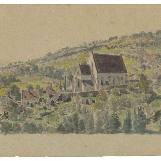 Pohľad na gotický kostolík v Jure pri Bratislave - Scheidlin, Friedrich Carl von