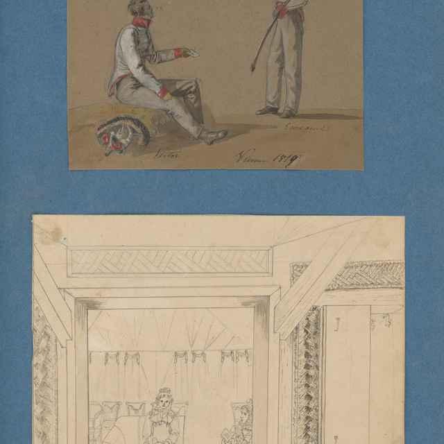 Gróf Viktor Zichy a gróf Emanuel Zichy ako vojaci. Grófka Mária Wilhelmína Zichy Ferraris a grófka Karolína Zichy v interiéri salóna.